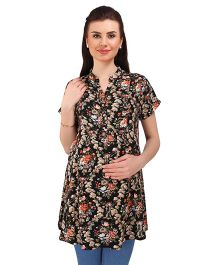 MomToBe Short Sleeves Maternity Tunic Top Floral Print - Black