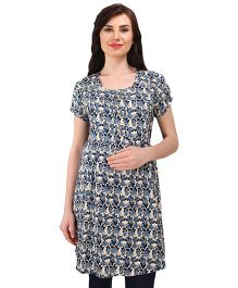 MomToBe Short Sleeves Tunic Top Floral Print - Blue Cream