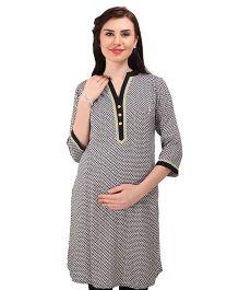 MomToBe Three Fourth Sleeves Maternity Kurti - Black