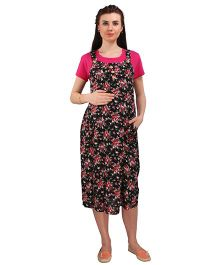 MomToBe Short Sleeves Printed Maternity Dress - Pink