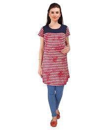 MomToBe Short Sleeves Striped Maternity Top - Red