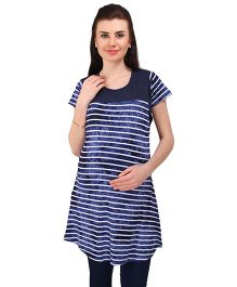 MomToBe Short Sleeves Striped Maternity Top - Navy Blue
