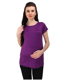 MomToBe Short Sleeves Maternity Solid Top - Purple