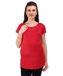 MomToBe Short Sleeves Maternity Solid Top - Red
