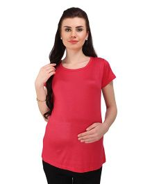 MomToBe Short Sleeves Maternity Solid Top - Pink