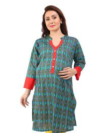 MomToBe Three Fourth Sleeves A-Line Maternity Kurti - Blue & Red
