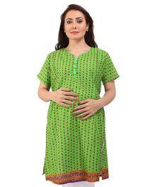MomToBe Half Sleeves Printed A Line Maternity Kurti - Green