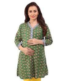 MomToBe Three Fourth Sleeves A Line Maternity Kurti - Green