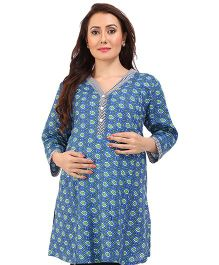 MomToBe Three Fourth Sleeves A Line Maternity Kurti - Blue