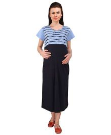 MomToBe Half Sleeves Maternity Dress - Blue & Black