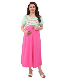 MomToBe Half Sleeves Maternity Dress - Green & Pink
