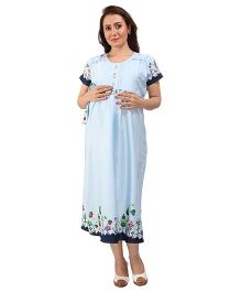 MomToBe Short Sleeves Maternity Dress - Light Blue