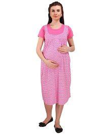 MomToBe Short Sleeves Printed Maternity Dress - Pink