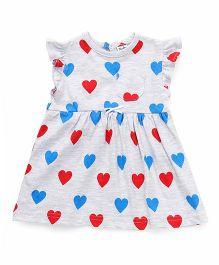 Playbeez Heart Print Dress - Red & Blue