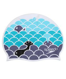 Speedo Junior Slogan Prt Cap - Blue Grey