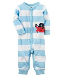 Carter's Cotton Snap Up Footless Sleep & Play - Blue White