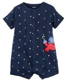 Carter's Snap-Up Cotton Romper - Navy Blue