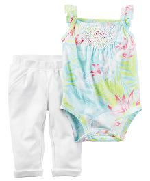 Carter's 2 Piece Bodysuit & Pant Set - Light Blue & White