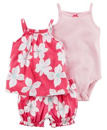 Carter's 3 Piece Bodysuit & Diaper Cover Set - Pink