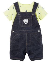 Carter's 2-Piece Top & Shortalls Set - Light Yellow Dark Navy