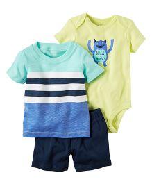 Carter's 3-Piece Bodysuit & Short Set - Sea Green Yellow Navy