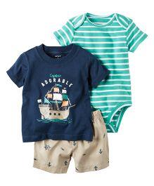 Carter's 3 Piece Bodysuit & Short Set - Navy Blue Green