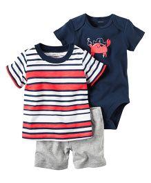 Carter's 3 Piece Bodysuit & Short Set - Red Navy
