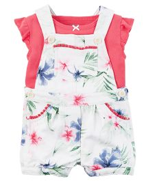 Carter's 2-Piece Top & Shortalls Set - Pink White