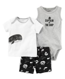 Carter's 3-Piece Babysoft Bodysuit & Short Set - White Grey Black