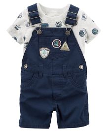 Carter's 2-Piece Top & Shortalls Set - White And Blue