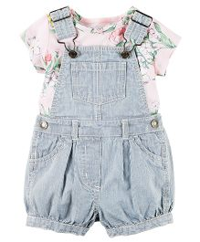 Carter's 2-Piece Top & Shortalls Set - Pink Blue