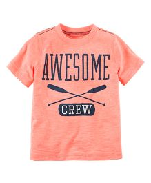 Carter's Neon Awesome Crew Graphic Tee - Peach