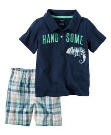 Carter's 2-Piece Handsome Polo & Plaid Short Set
