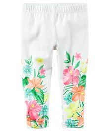 Carter's Floral Capri Leggings - White And Multi Color