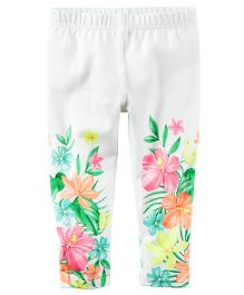 Carter's Floral Capri Leggings - White And Multi Color