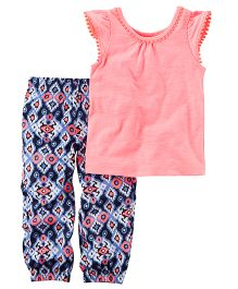Carter's 2-Piece Neon Top & Printed Jogger Set - Peach And Navy