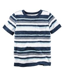 Carter's Striped Pocket Tee - White & Navy