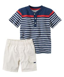 Carter's 2-Piece Striped Henley & Poplin Cargo Short Set - Navy Off White