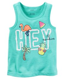 Carter's Tropical Glitter Graphic Tank - Sea Green