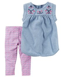 Carter's 2-Piece Chambray Top & Capri Legging Set - Light Blue White