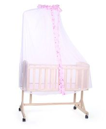 Baby Cradle With Mosquito Net Star Print - Pink