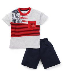 Fido Half Sleeves T-Shirt And Shorts Stripes Print - Red & Navy Blue