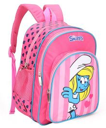 Smurfs Printed School Bag Pink - 14 inch