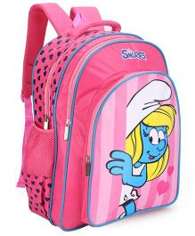 Smurfs Printed School Bag Pink - 18 inch