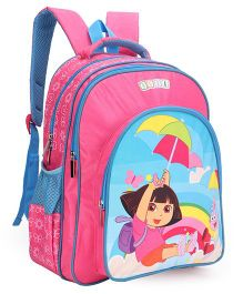 Dora Printed School Bag Pink & Blue - 16 inch