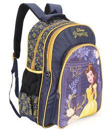 Disney Princess Belle Print School Bag Navy & Yellow - 18 inch