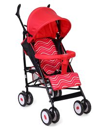 Lightweight Baby Stroller With Zigzag Line And Fish Print - Red