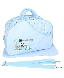 Mother Bag Dinosaur Embroidery - Blue