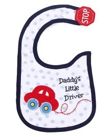 Mee Mee Velcro Closure Bib Car Embroidery - White And Blue