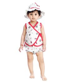 Little Pockets Store Overlap Top Hat & Diaper Cover Set - White